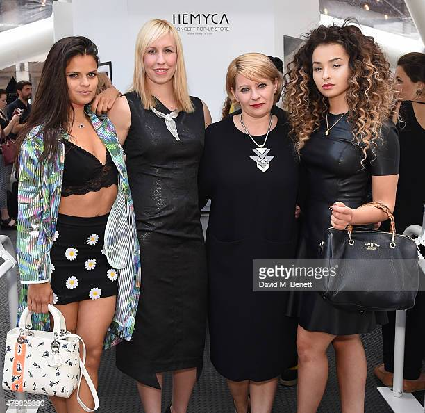 Bip Ling Helen Clinch Myra Nigris and Ella Eyre attend the exclusive opening of HEMYCA's popup on the openair terrace of Broadgate Circle at...