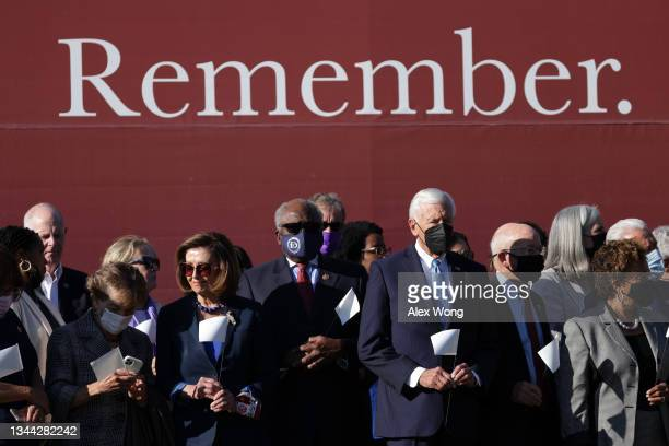 """Bipartisan group of Congressional members, led by Speaker of the House Rep. Nancy Pelosi , visit the """"In America: Remember"""" public art installation..."""