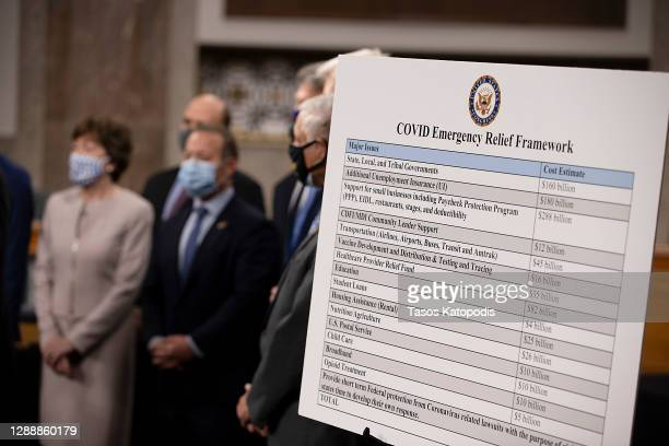 Bipartisan group of Democrat and Republican members of Congress as they announce a proposal for a Covid-19 relief bill on Capitol Hill on December...