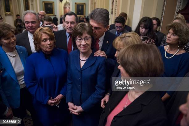A bipartisan group of Senators hold a new conference in the Capitol after they voted to end debate on a continuing resolution to reopen the...