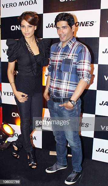 Bipasha Basu and Manish Malhotra during the launch of a collection by Vero Moda in Mumbai on October 23 2010