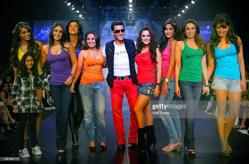 Bipasha Basu with Rene Kareena Kapoor Sushmita Sen Rani Mukherjee Salman Khan Preity Zinta Katrina Kaif Karisma Kapoor and Priyanka Chopra during the.