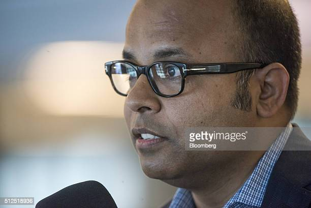 Bipul Sinha chief executive officer of Rubrik Inc speaks during a Bloomberg Radio interview in San Francisco California US on Friday Feb 26 2016...