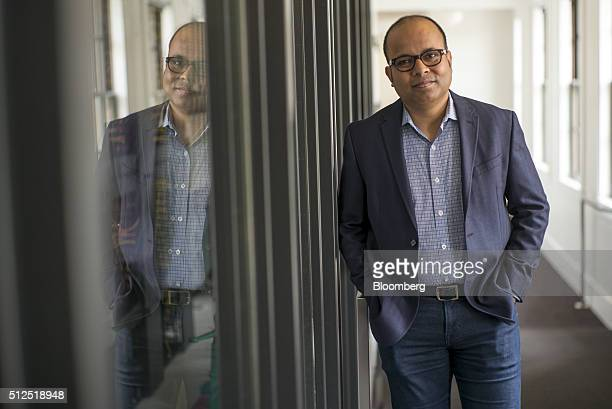 Bipul Sinha chief executive officer of Rubrik Inc stands for a photograph before a Bloomberg Radio interview in San Francisco California US on Friday...