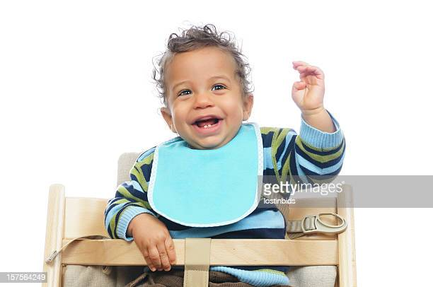 Biracial Baby Showing His Excitement Before A Meal