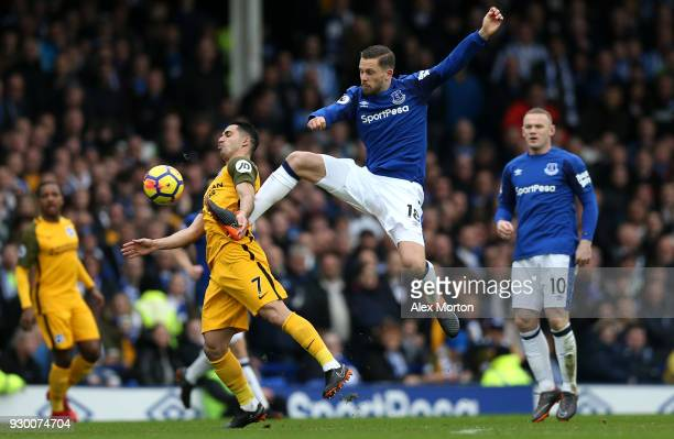 Biram Kayal of Brighton and Hove Albion and Gylfi Sigurdsson of Everton battle for the ball during the Premier League match between Everton and...