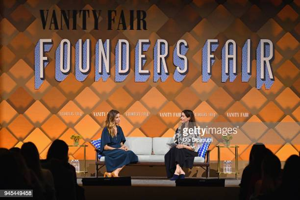 Birchbox co-founder CEO Katia Beauchamp and Vanity Fair contributing editor Bethany McLean speak onstage during Vanity Fair's Founders Fair at Spring...