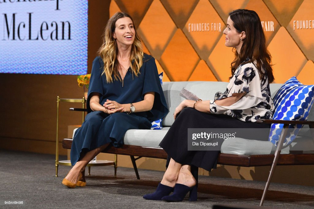 Birchbox co-founder CEO Katia Beauchamp (L) and Vanity Fair contributing editor Bethany McLean speak onstage during Vanity Fair's Founders Fair at Spring Studios on April 12, 2018 in New York City.