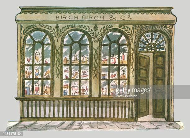 Birch's shop front City of London 'Beginning of 19th CenturyLondon facade paintingAfter a drawing by F Cornman of an old shop near the Royal...