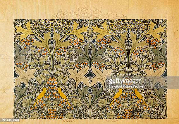Bird and Foliage Textile Design by Charles Annesley Voysey