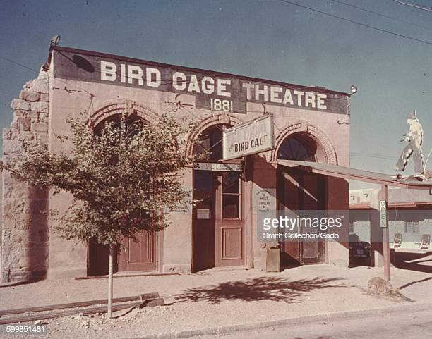 Bird Cage Theatre, a former theater, gambling venue and brothel, now the Bird Cage Theatre Museum, Tombstone, Arizona, 1966.