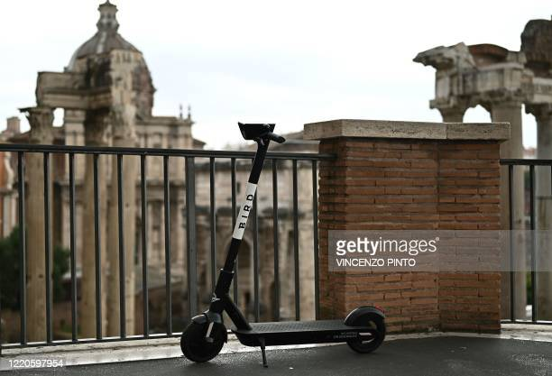 A Bird electric scooter is parked near the Roman Forum in central Rome on June 17 as the country eases its lockdown aimed at curbing the spread of...