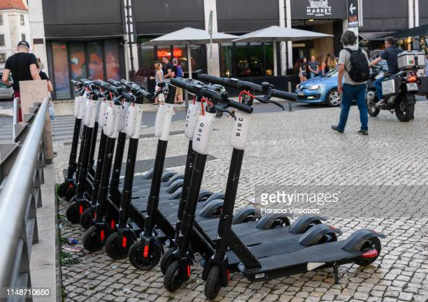 Bird escooters are parked in front of Time Out Market in Cais do Sodre on May 12 2019 in Lisbon Portugal Bird an electric scooter sharing company...