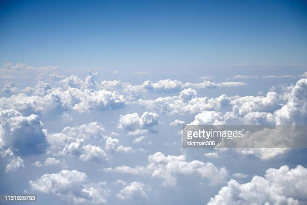 bird eye view cloudy and blue sky view from airplane - 天国 ストックフォトと画像