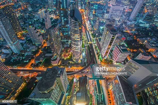 Bird Eye View intersection in the city beautiful At sunset , Chong Nonsi , Bangkok , Thailand .