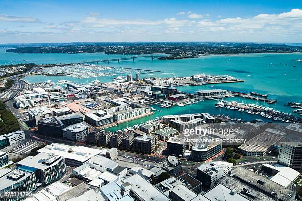 bird eye view of auckland city - north shore stock photos and pictures