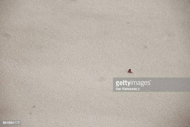 Bird eye view of one person on empty sandy beach