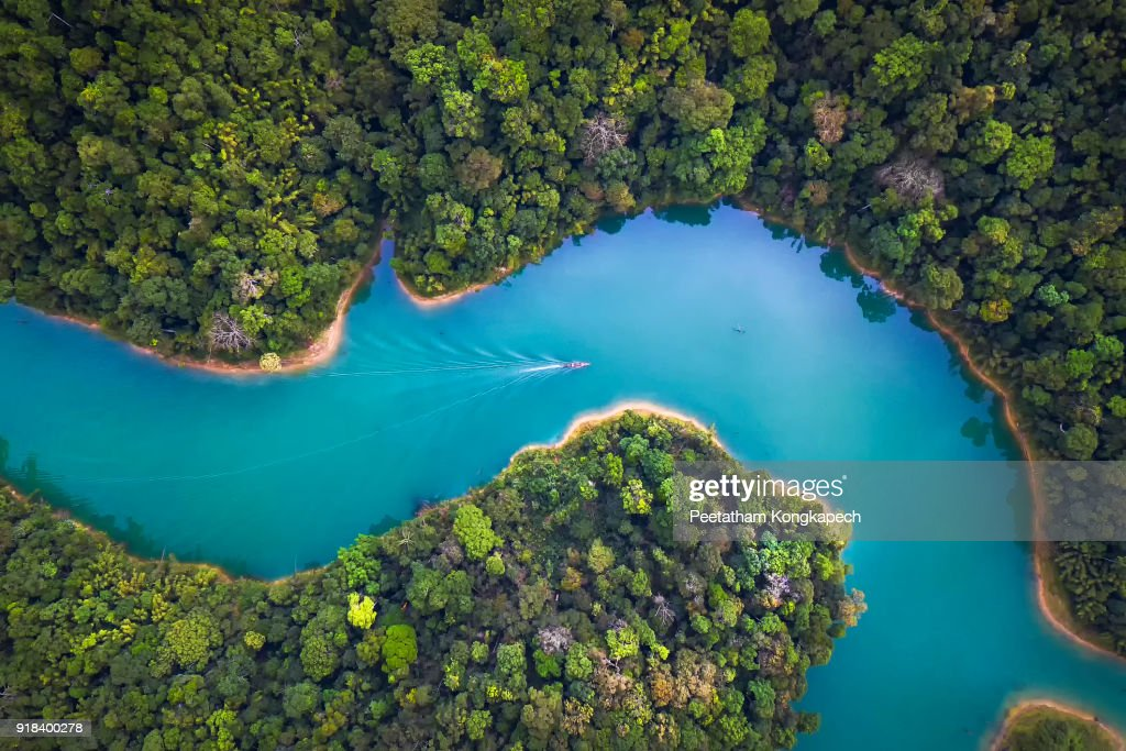 Bird eye view of Surat Thani fly in the morning. : Stockfoto