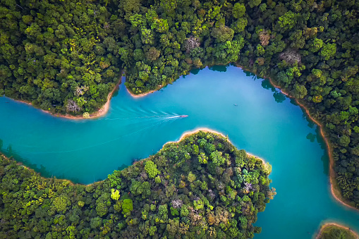 Bird eye view of Surat Thani fly in the morning. - gettyimageskorea