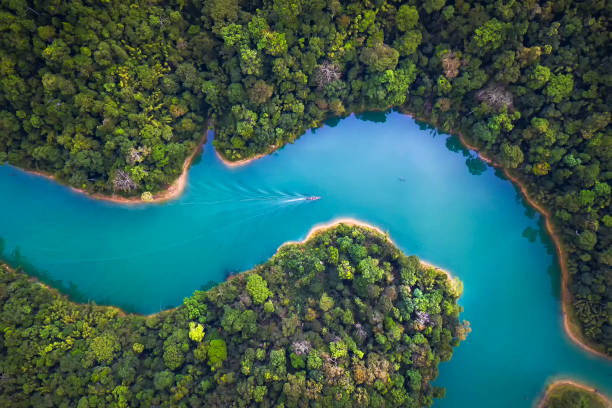 bird eye view of surat thani fly in the morning. - horizontal stock pictures, royalty-free photos & images