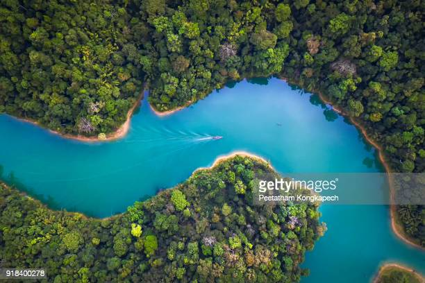 bird eye view of surat thani fly in the morning. - lago imagens e fotografias de stock