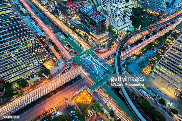 Bird eye view of Traffic connection in Bangkok city scape