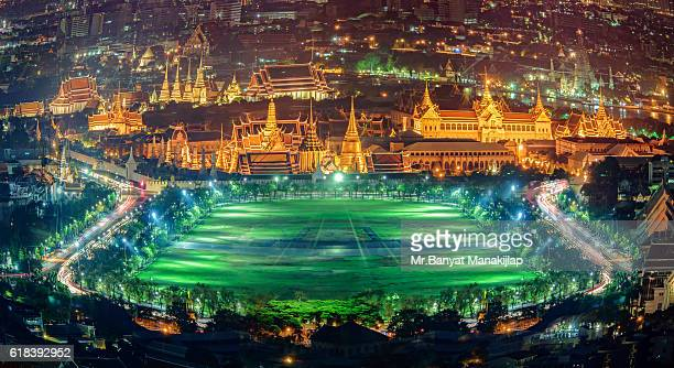 bird eye views sanam luang with grand palace - sanam luang park stock pictures, royalty-free photos & images