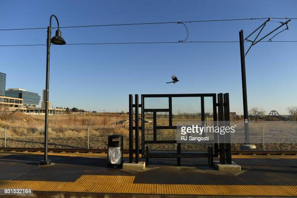A bird flies away from a shelter at the Federal Center Light Rail Station on March 13 2018 in Lakewood Colorado A plan for homeless housing complex...