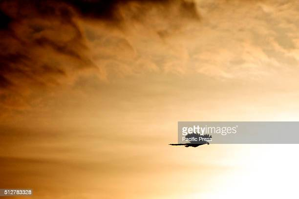 A bird flying in the sky of Pekanbaru City during a beautiful dusk of February