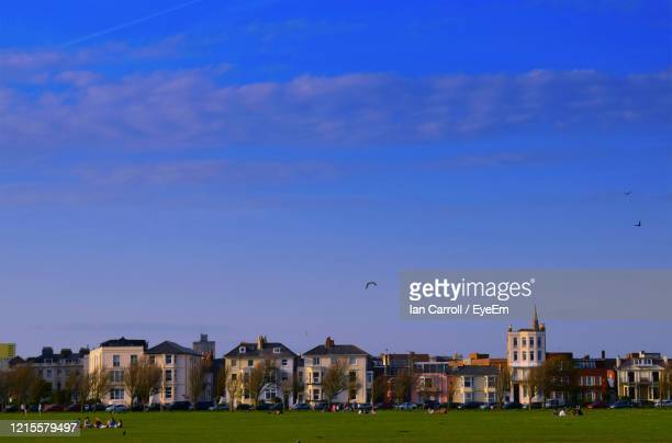 bird flying over city against blue sky - portsmouth england stock pictures, royalty-free photos & images