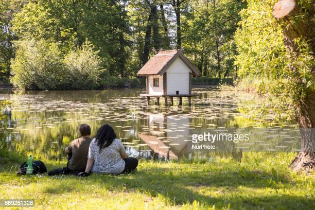 A bird house is pictured in the middle of a pond in the caste park in Luebbenau in the region of the Spreewald Germany on May 27 2017 The Spreewald...
