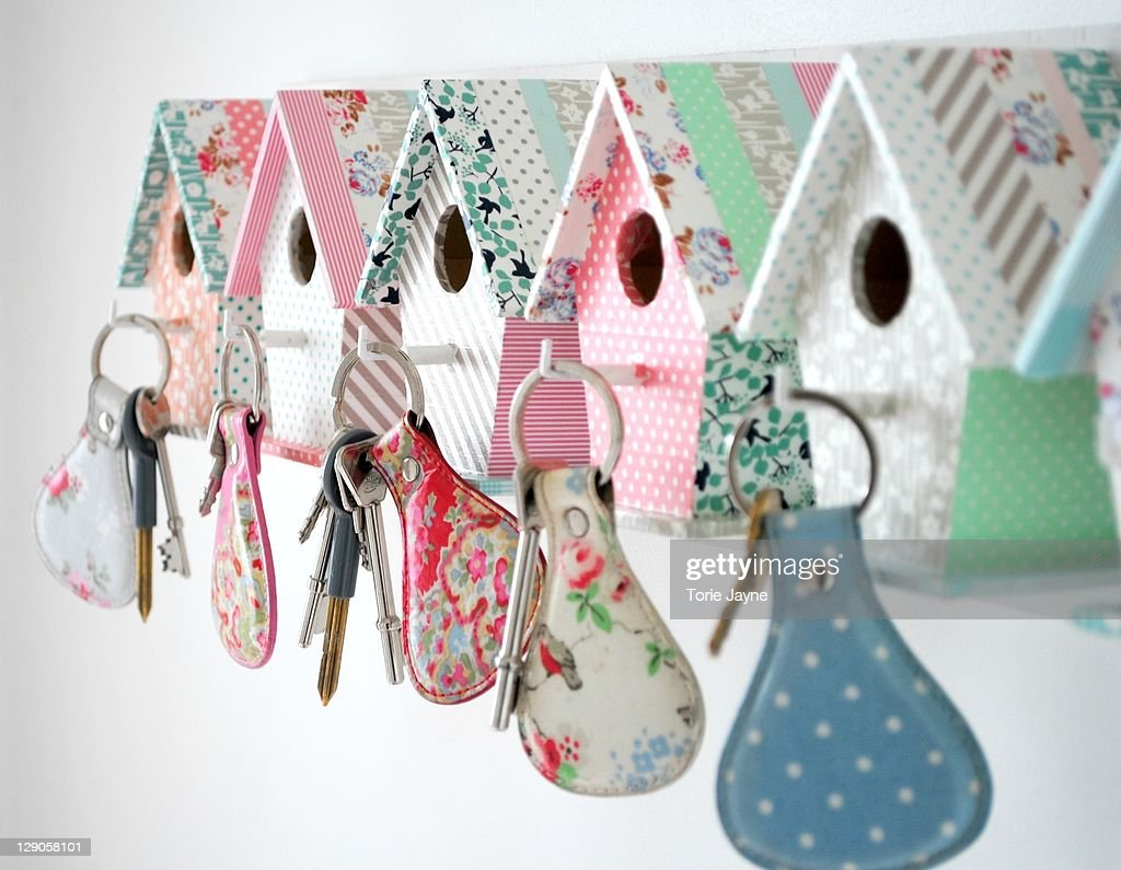 Bird house key hooks : Stock Photo