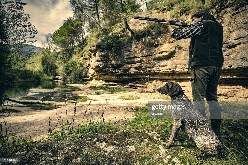 Bird hunter shooting : Stock Photo
