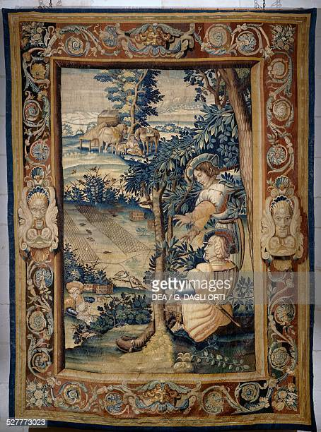 Bird hunting with a net tapestry from the series Hunts of Francis I 16201630 with cardboard backing by Laurent Guyot from the SaintMarcel factory in...