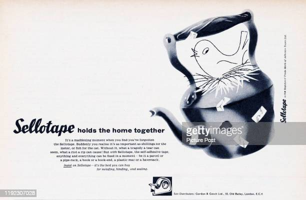 A bird nests in kettle that has been repaired with Sellotape adhesive tape Original Publication Picture Post Ad Vol 75 No 5 P 33 pub 4th May 1957