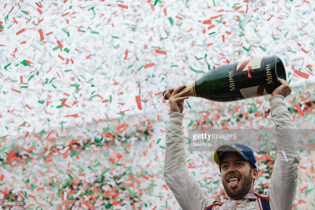S. Bird of Virgin Racing celebrate the victory of the Rome E-Prix Round 7 as part of the ABB FIA Formula E Championship on April 14, 2018 in Rome, Italy.