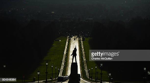 A bird perches on the outstretched finger of Lord Carsons statue at Stormont on January 11 2016 in Belfast Northern Ireland Arlene Foster becomes the...