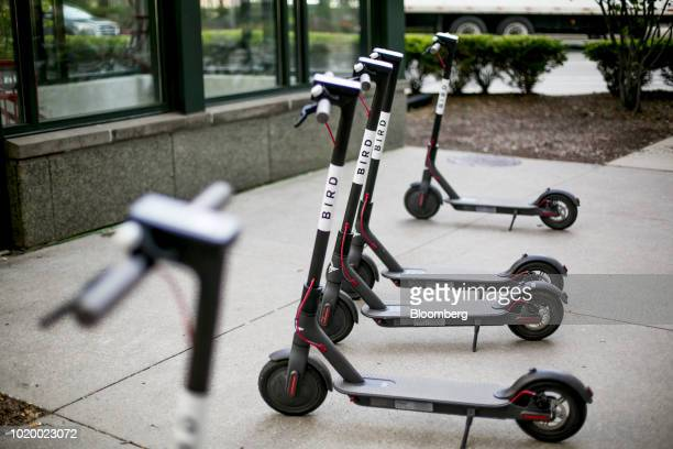 Bird Rides Inc shared electric scooters sit parked in Detroit Michigan US on Tuesday Aug 14 2018 Detroit ranks in the top 7 percent for traffic...