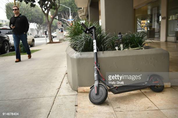 Bird scooter stands along 5th Ave on February 5 2018 in Santa Monica California The scooters are angering city officials because people are leaving...