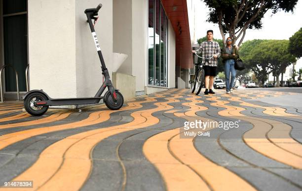Bird scooter stands along Colorado Blvd and 5th Ave on February 5 2018 in Santa Monica California The scooters are angering city officials because...