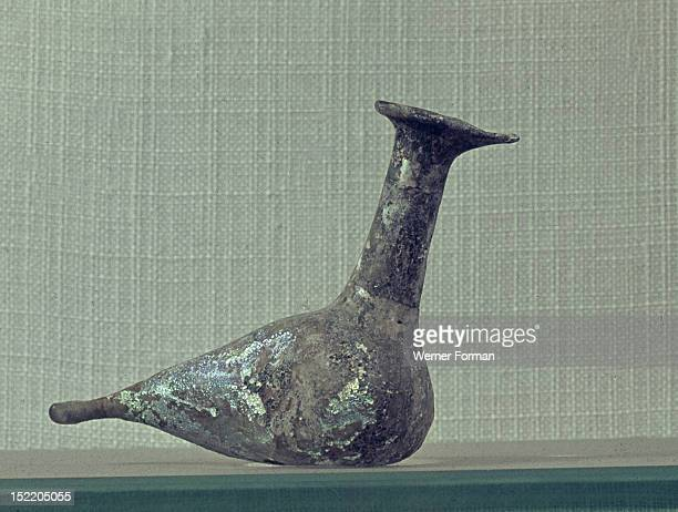 Bird shaped glass bottle used for perfume storage Roman c 64 BC 31 AD Syria