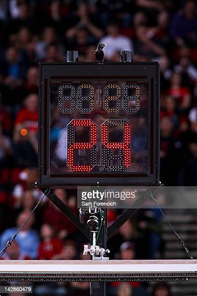 A bird sits above the shot clock during a game between the Dallas Mavericks and Portland Trail Blazers on April 13 2012 at the Rose Garden Arena in...