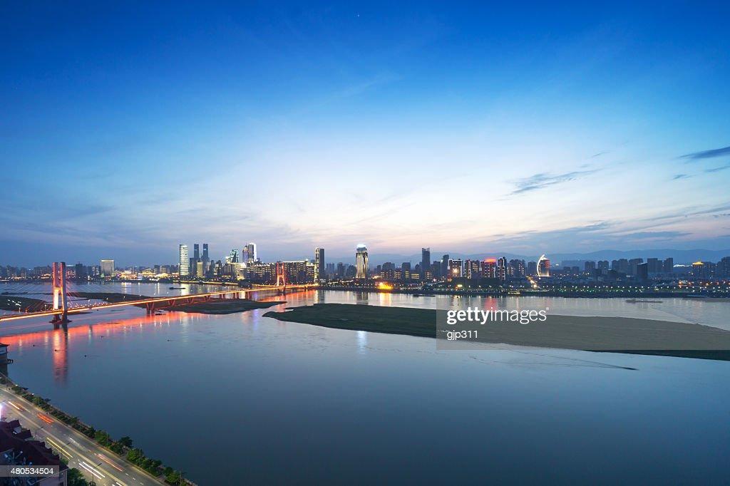 Bird view at Nanchang China : Bildbanksbilder