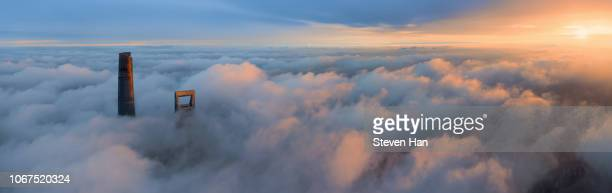 bird view from up in the air in shanghai - panoramic stock pictures, royalty-free photos & images