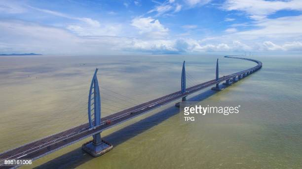 Bird view of Hong KongZhuhaiMacao Bridge on 23th December 2017 in Zhuhai Guangdong China It will be open to traffic at the end of 2017