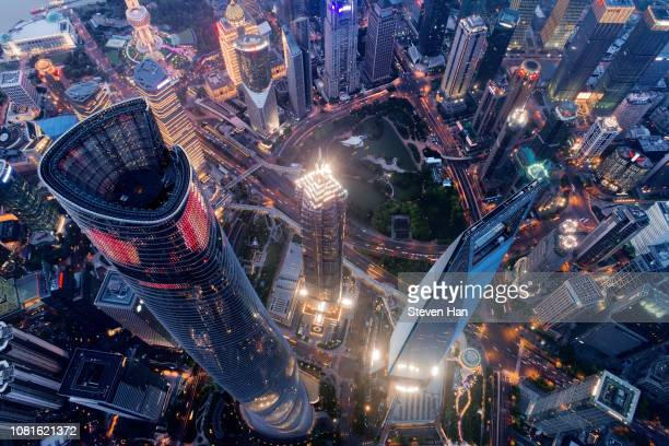 bird view of lujiazui in shanghai - shanghai stock pictures, royalty-free photos & images
