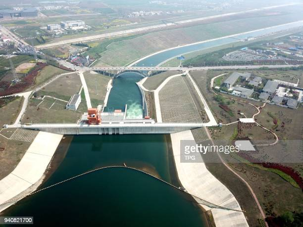 Bird view of Qushou Dam the source of SNWTPSouth To North Water Transfer Project on 31 March 2018in Xichuan Henan China