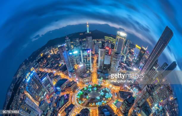 bird view of the city cbd. - zhongshan stock-fotos und bilder
