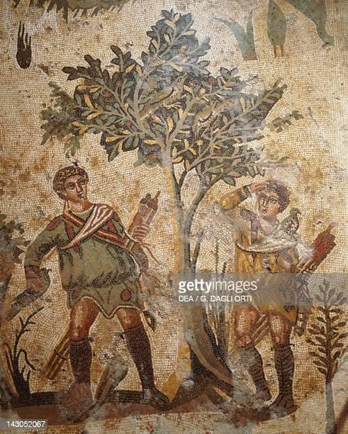 Birdcatching detail from the Little hunt mosaic in Villa Romana del Casale Piazza Armerina Sicily Roman Civilization 4th Century