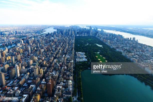 バードアイ スカイ ビュー オブ セントラル パーク - ニューヨーク - アッパーイーストサイドマンハッタン ストックフォトと画像